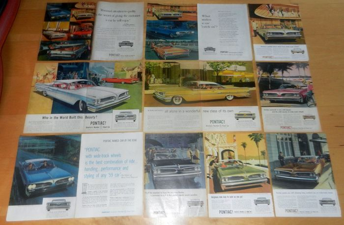 Batch of 100+ Pontiac advertisements / mini posters 1959 - 1965 AF VK Art Fitzpatrick Van Kaufman