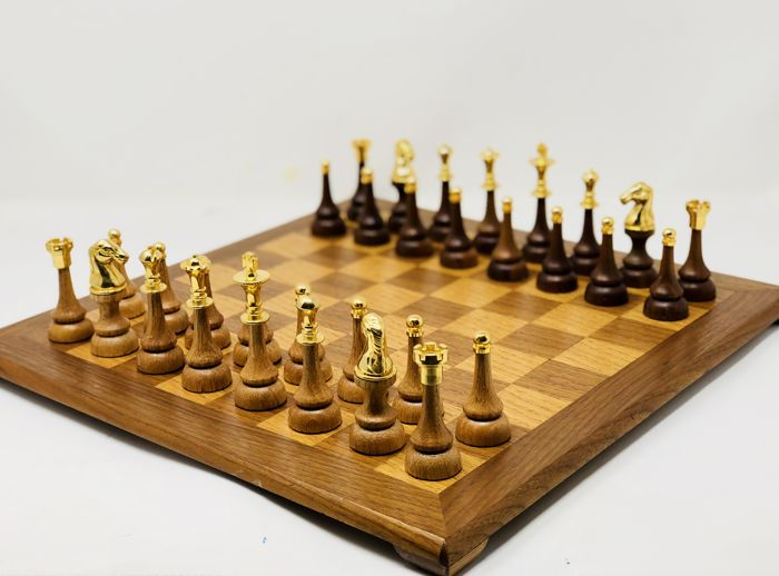 Persian chess made of gold and oak wood