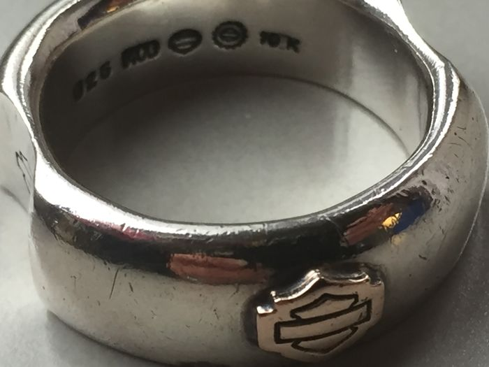 925 Silver men's ring Harley Davidson silver / gold