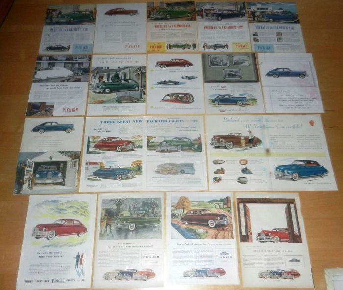 Batch of 80+ Packard advertisement / mini posters 1945 - 1958 original (not copies)