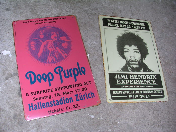 Two Great Classic Metal Concert Signs   Deep Purlpe And Jimi Hendrix