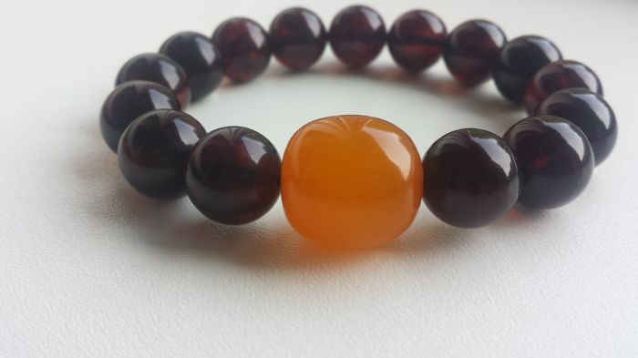Beautiful Baltic Amber Bracelet  Cherry Red Beads,Natural Baltic Amber