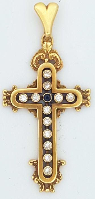 18 kt gold crucifix and 0.72 ct diamonds and central sapphire 0.06 ct - 12.3 g