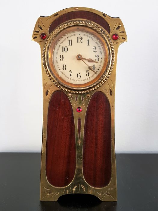 Art Nouveau clock inlaid with decorative rhinestones