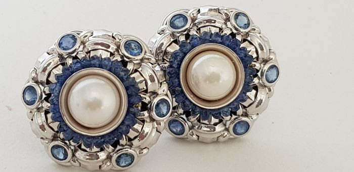 Zancan - 18 kt gold earrings with sapphires and pearls
