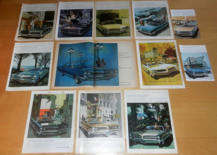 Batch 60+ Pontiac advertisements / mini posters 1965 - 1971 AF VK Art Fitzpatrick Van Kaufman