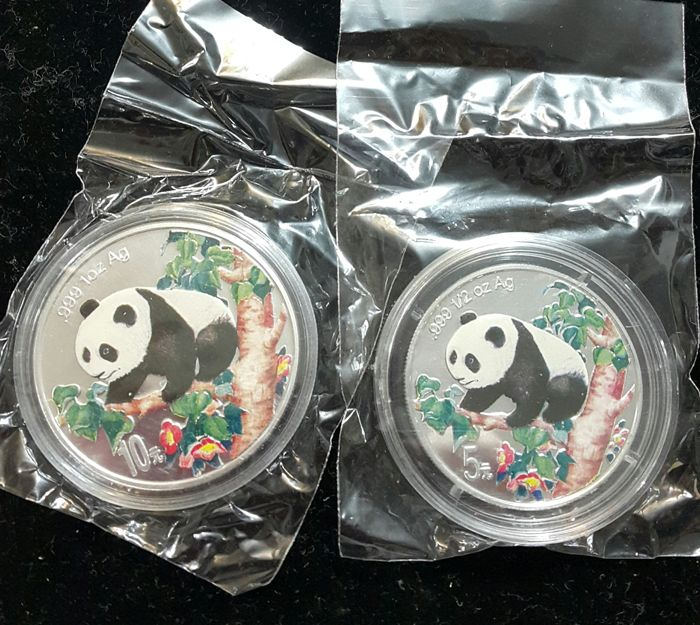 China - 5 and 10 Yuan 1998 'Panda' with colour - silver