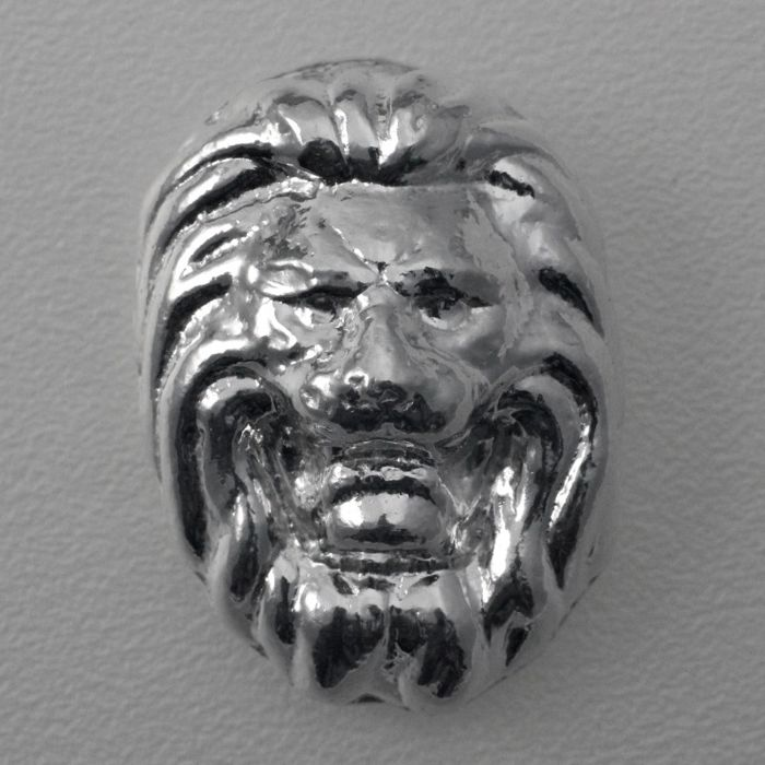 3D 'Lion's Head' Medallion 1 oz Poured Silver