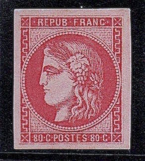 France 1870 - Bordeaux Issue - Cérès 80c pink signed Brun and Roumet with certificate - Yvert no 49