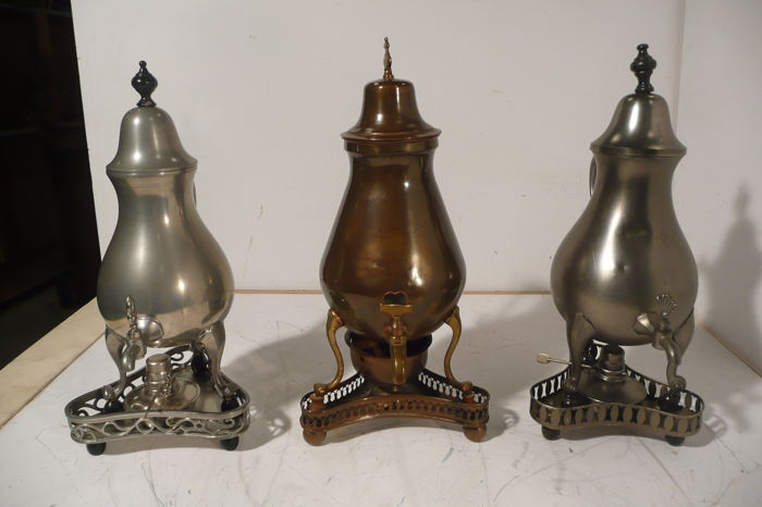 Three tap jugs, 1 of copper, 2 of tin