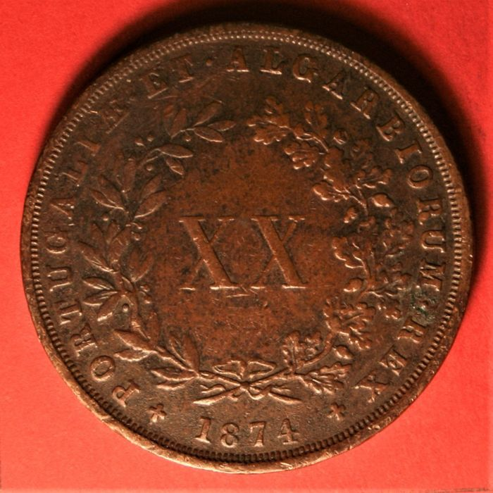 Portugal, Monarchy - Luís I (1861-1889) - XX Reis 1874 (4 with Foot) - Copper