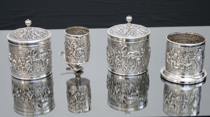 Herman Hooijkaas for Douwe Egberts (DE): silver plated tea caddies, spoon holder and pickle fork holder