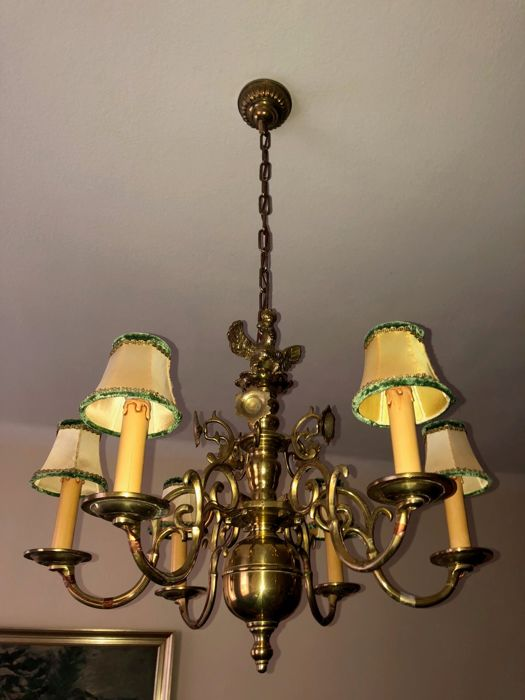 Chandelier of cast brass, country of origin: unknown, age: 19th century.