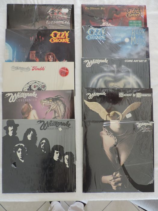 Set of 10 original LP's from Ozzy Osbourne and Whitesnake