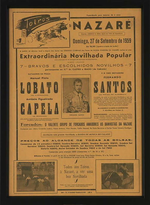 2 Framed Bullfight Advertising - Portugal - 1959 and 1962