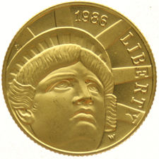 United States - 5 Dollars 1986-W Statue of Liberty - Gold