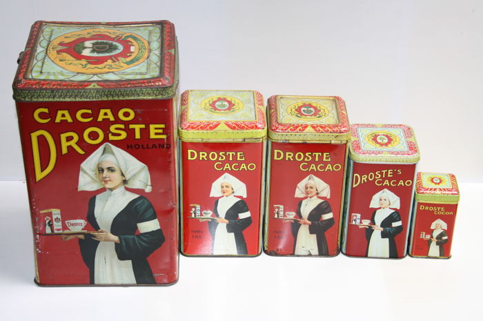 5 different Droste tins