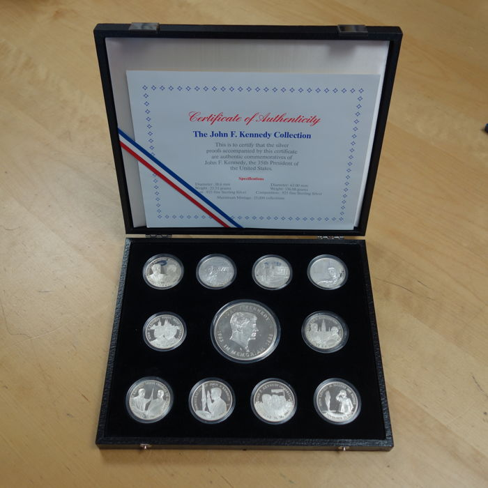 United States - Medals 'The John F. Kennedy Collection' silver in a case (11 different ones).