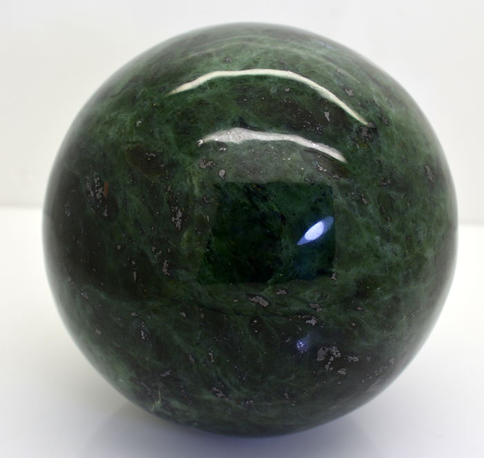 Emerald Green Translucent Nephrite Jade Sphere - Whole Round 300 MM -  1 kg