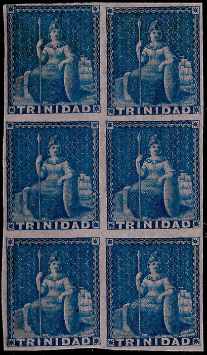 Trinidad 1851 - Britannia blue on light blue paper, imperforate, block of six