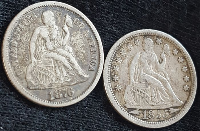 United States - 10 Cents (Dime) 1855 and 1876 'Seated Liberty' - silver