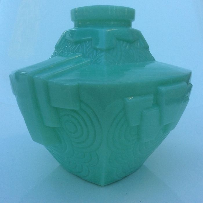 Art Deco opaline pressed glass vase with geometric shapes