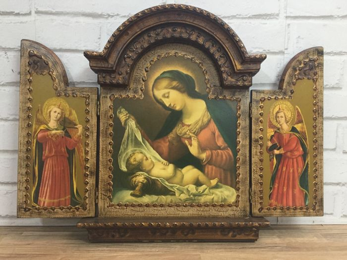 Antique religious triptych of the Virgin Mary and Archangel, Spain, early 20th century