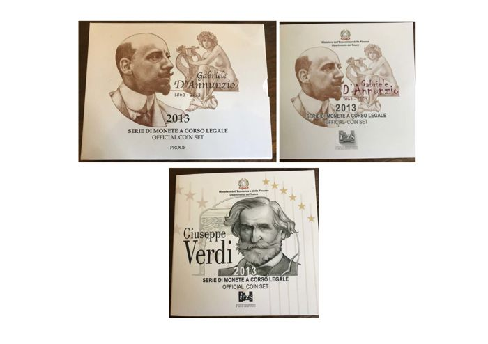 Italy - 3 Divisional Series - Euro - 2013 - Proof and FDC (See Description)