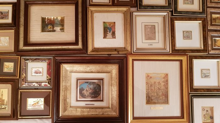 Beautiful lot of 20 small paintings, finished in 800/925 silver leaf and 22/23 kt gold leaf - many are also signed (22)