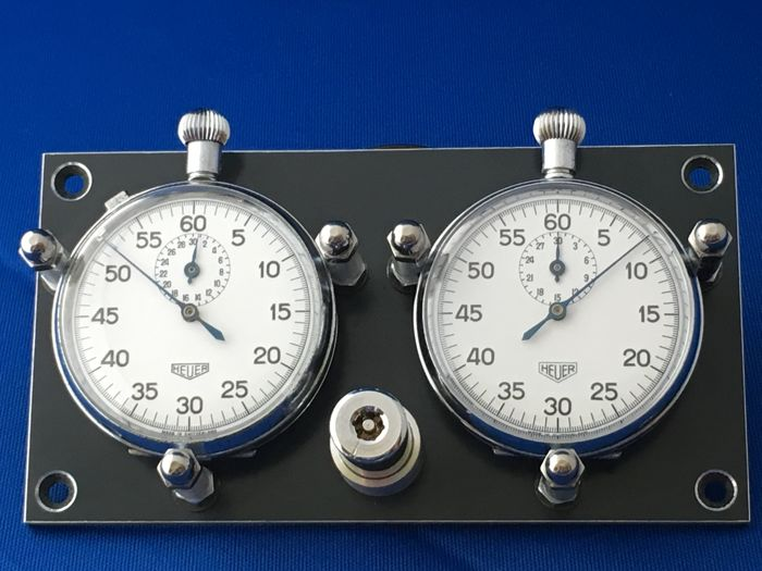 Vintage Heuer mechanical stopwatch set for dashboard mounting
