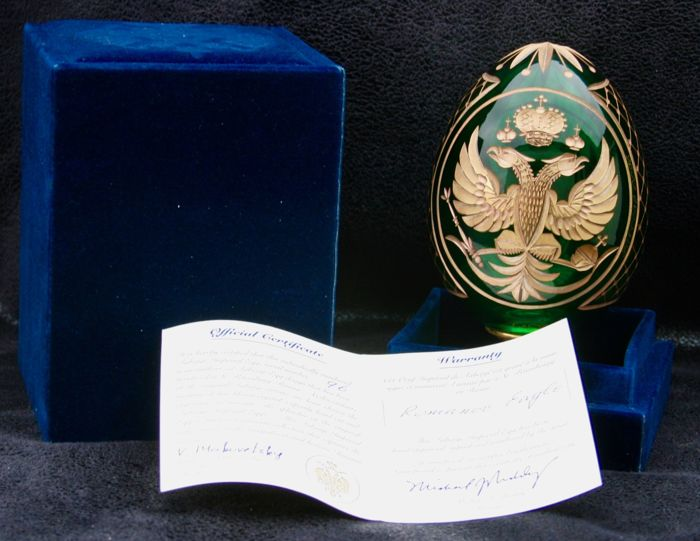Fabergé Imperial Egg with case and 'Romanov Eagle' certificate N°96