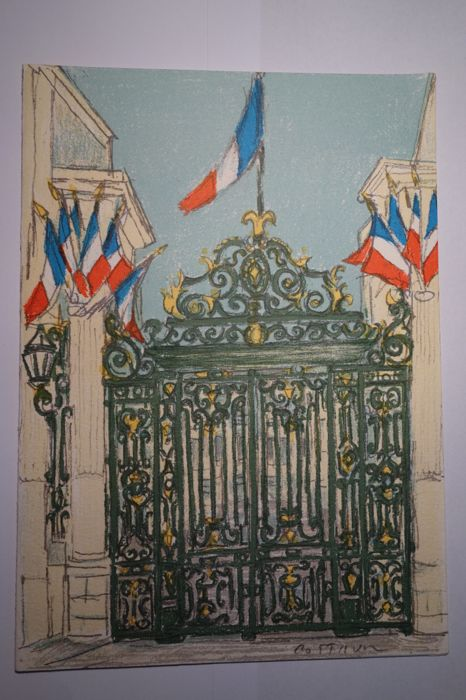 Menu (original and signed lithograph by A. Cottavoz) for the Déjeuner of French Minister of the Interior, Monsieur Charles Pasqua with the French Prime Minister Mr. E. Balladur on 11.5.1995