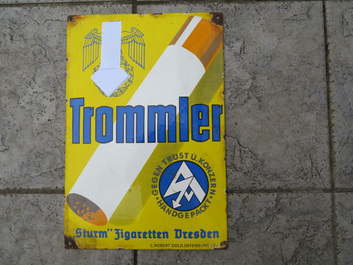 Very rare Trommler sturm cigarettes enamel sign
