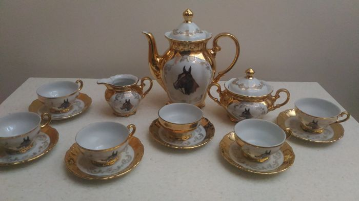 Josef Rieber & Co. Bavaria - Coffee service for 6 people with horse motif