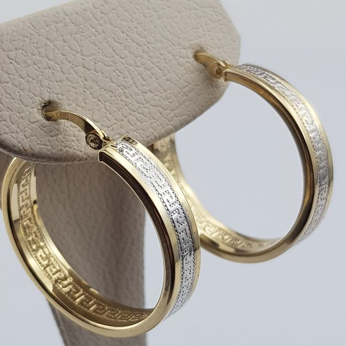14 Ct  Yellow & White Gold Earrings, Diameter: 2.5 cm