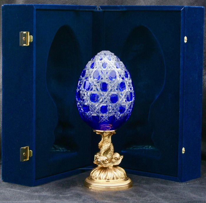 Considerable Egg Fabergé Imperial - Collection 'Pure Cristal Gravé Luxe' 24 carat gold finish with box and certificate 'Imperial Athénée'
