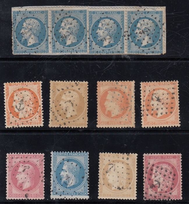 France 1860/1870 - Set of selected stamps with anchor cancellation - Yvert no. 21, 22, 23, 29, 31, 32, 38, 57, 59