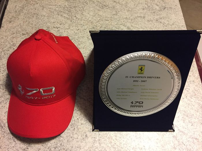 Ferrari cap + Plate with Ferrari badge for Ferrari 70-year anniversary