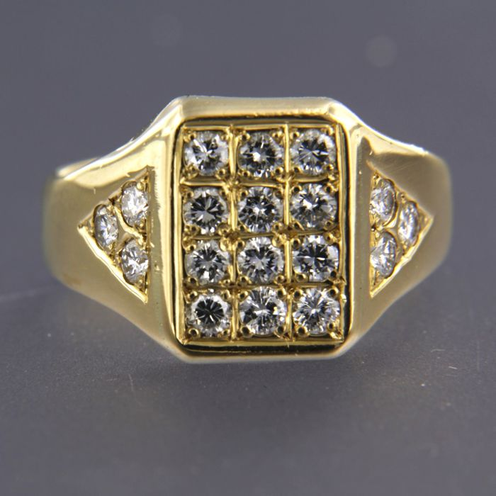 18 kt yellow gold ring set with 18 brilliant cut diamonds, approx. 1.08 carat in total