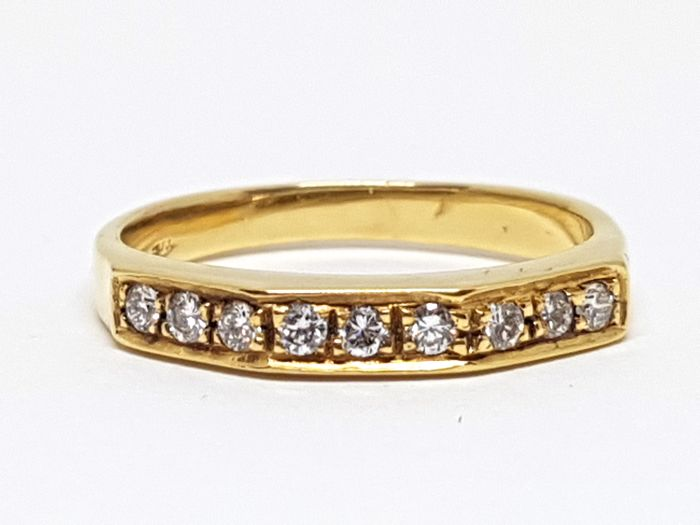 18K Yellow gold diamond alliance ring, total diamond weight:  0,27ct. -  Ring Size 52 / 16,50mm