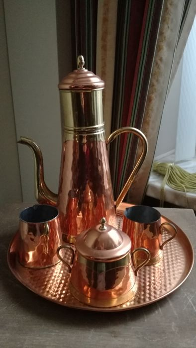 5 piece red copper coffee - ensemble