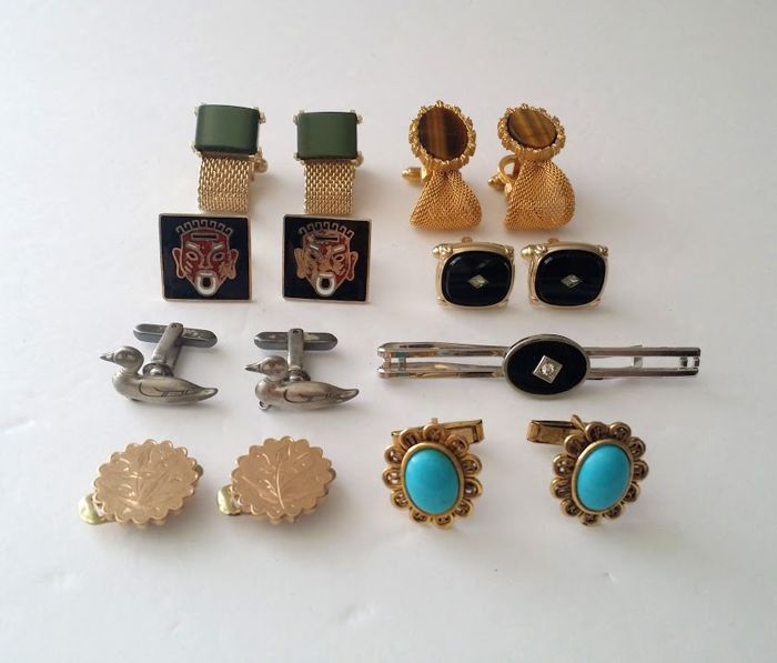 Vintage All Signed Cufflinks Lot Including Victorian Cufflinks from 1884