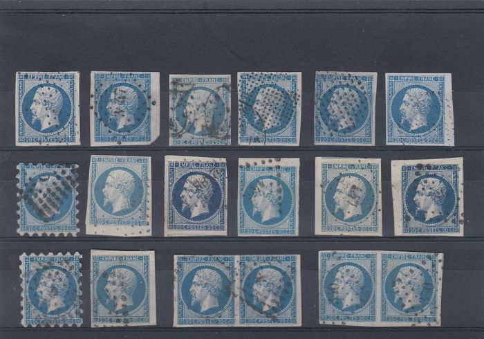 France 1850 - Set of selected stamps with nuances and cancellations - Yvert no. 14A and 14B