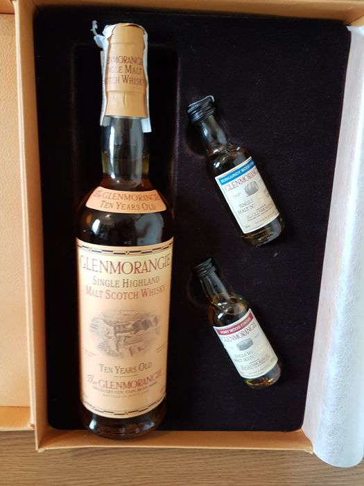 glenmorangie ten years old gift set with two samples burgundy wood
