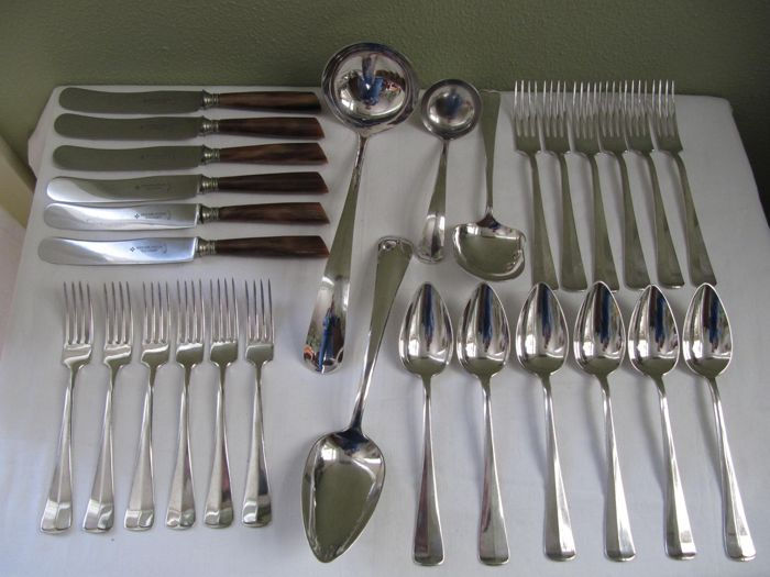 Silver plated cutlery for 6 people, 28 pieces, model Haags lofje, Gero, The Netherlands