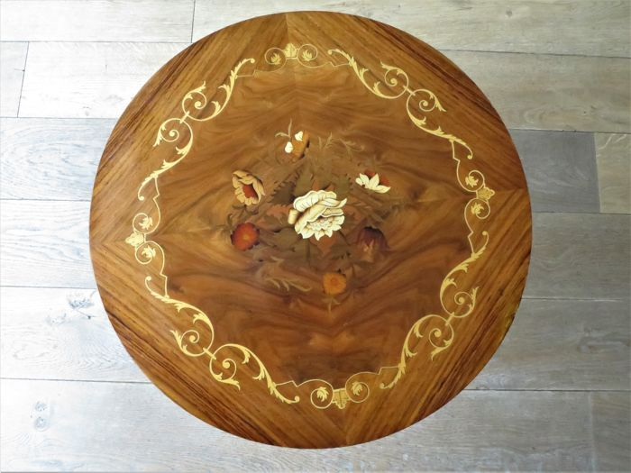 A beautiful wooden side table with floral pattern, second half 20th century