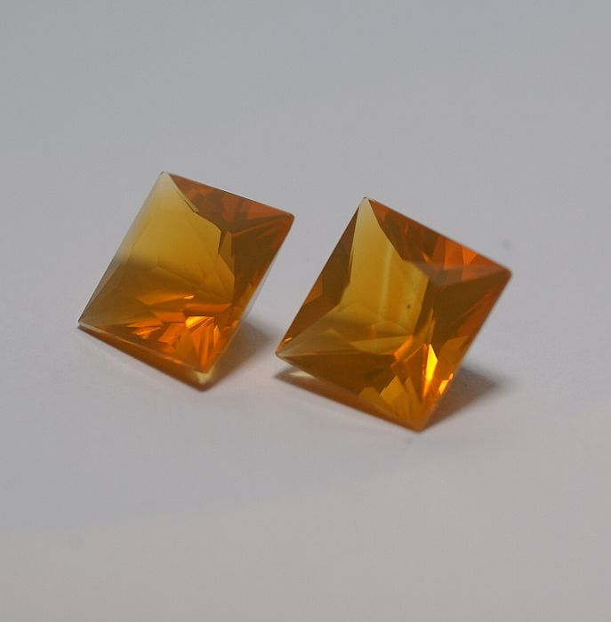 2 Fireopals (Pair) , yellowish orange   19.11 ct total