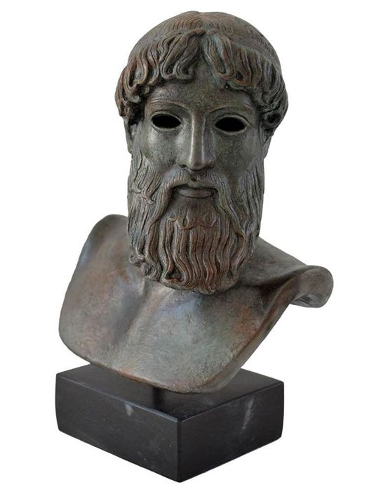Zeus - Poseidon Greek god sculpture bust statue with bronze color effect - Museum replica