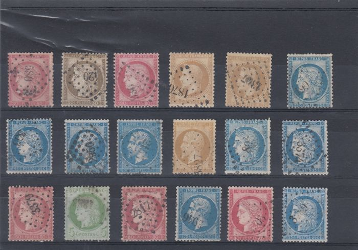 France 1860/1870 - Set of selected stamps with cancellations of small digits from large digits