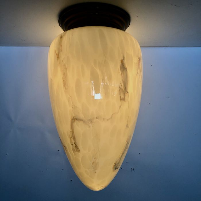 Large ceiling lamp with marbled glass